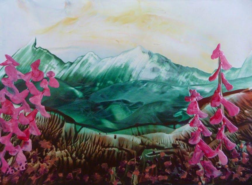 Krajinka s ružovými kvetmi